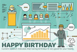 Happy Birthday card Infographic birthdays are good for your health from Cloud Publishing