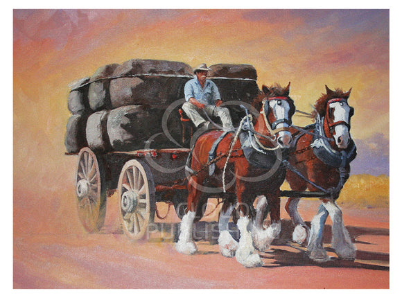 Farm horse greeting card of Clydesdales and wool wagon by Peter Hill