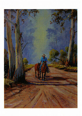 Greeting card of a Cowboy riding one and leading one by Australian artist Peter Hill and published by Cloud Publishing