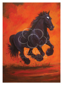 "Greeting card ""Gypsy"" the Clydesdale in full flight by artist PJ Hill and Cloud Publishing"