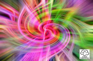 Greeting card abstract swirling colourful leaves from Cloud Publishin