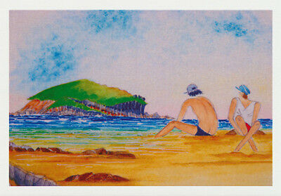A couple of beachgoers sitting on a Sandy beach with groper Island floating in the Solitary Islands marine Park by Australian artist Nancy Soultanian and published by Cloud Publishing