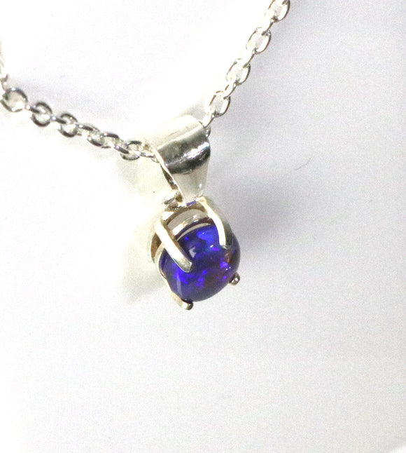Australian purple blue black opal crystal sterling silver 7 x 5 mm pendant necklace