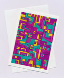 Greeting card abstract design in turquoise, yellow and purples shapes by Australian artist Nancy Soultanian and published by Cloud Publishing