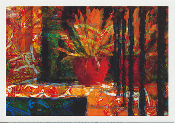 orange pot by the pool greeting card by artist Tony Brindley and published by Cloud Publishing