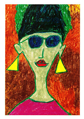 Madam is a portrait greeting card of  a no nonsense women with yellow triangle earrings, blue sun glasses and bright red lipstick by Australian artist Sally Pryor and published by Cloud Publishing