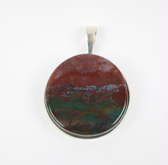 Bloodstone 30mm sterling silver solid back pendant and cord