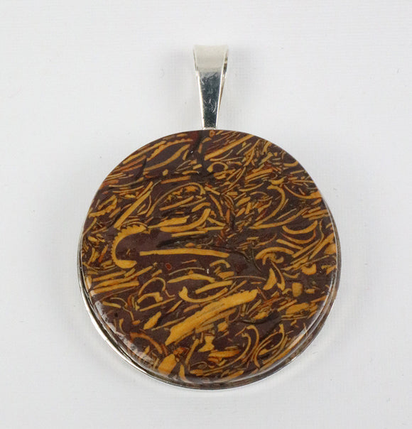 Coquina Jasper 30mm Sterling Silver solid back pendant and cord