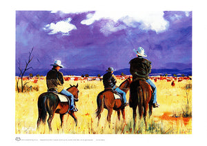 Stockmen viewing the mob of cattle in central Queensland by Australian artist peter Hill and published as a n A3 print by Cloud Publishing
