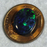 Green blue black opal oval cabochon 2.66cts from Lightning Ridge