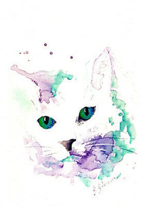 Cat greeting card in white purple and turquoise from an original watercolor by Glenda Gilmore and published by Cloud Publishing