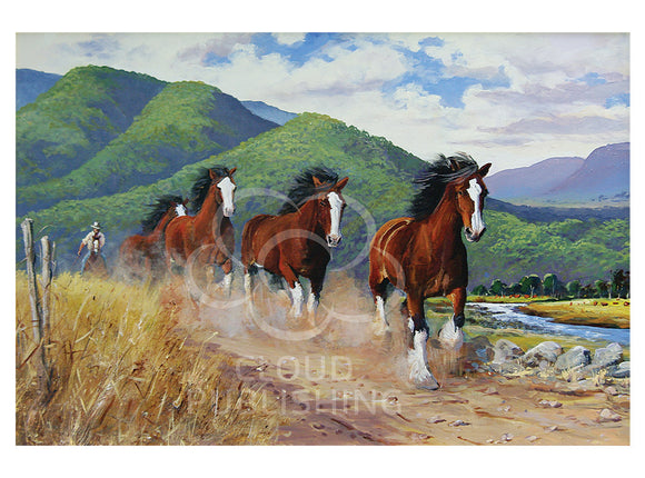 Horse greeting card titled Follow the Leader by artist Peter Hill