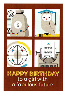 Happy Birthday greeting card to a girl with a fabulous future by artist Sally Pryor.