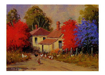 Free range chooks under Jacaranda and Flame Trees Grafton by Peter Hill and published by Cloud Publishing