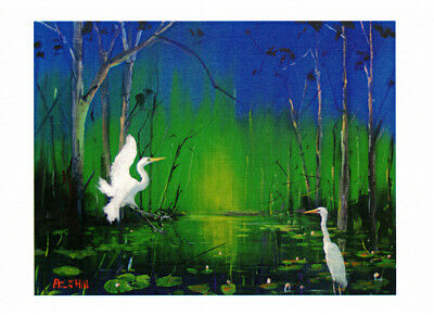 Greeting card of Egrets at Play 2 at a billabong by artist Peter Hill and published by Cloud Publishing