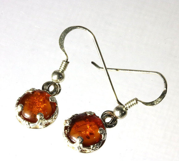 Amber 8mm round sterling silver drop earrings.