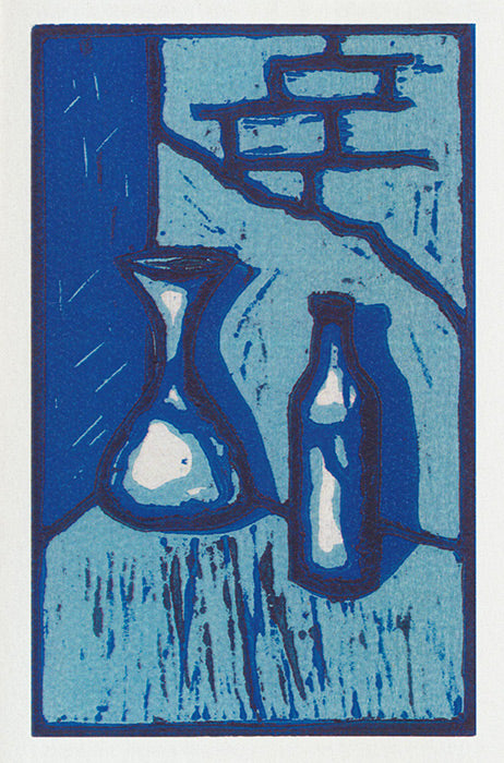 Greeting card lino print of a couple of blue bottles by artist Jon Howarth and Cloud Publishing