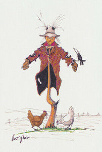 Greeting card of a Scarecrow chooks and a crow by artist PJ Hill and Cloud Publishing