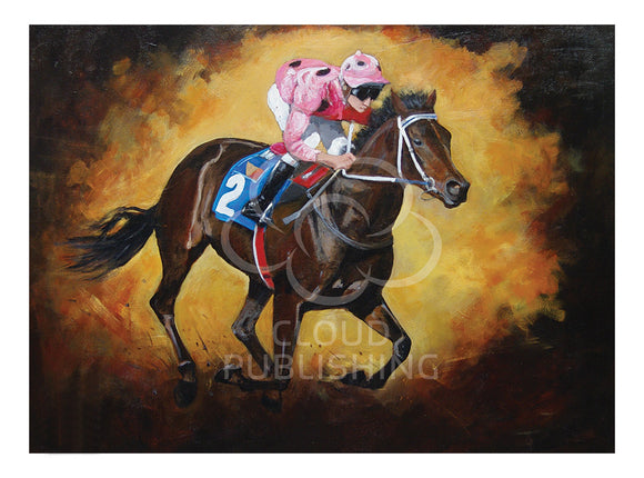 Horse racing greeting card of the famous racehorse Black Cavier by artist Peter Hill and published by Cloud Publishing
