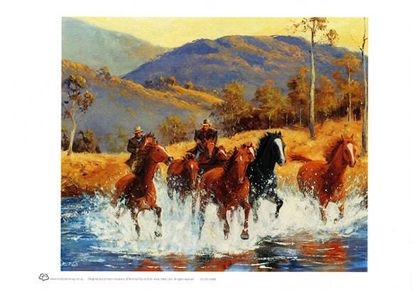 Wall art of brumby horse chase across the Snowy River in Australia by artist Peter Hill and published by Cloud Publishing