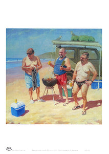 Beach barbecue A4 unframed print of three  guys sharing a drink and a snag at Sawtell Beach. From an original painting by Australian artist Sima Kokaev and published by Cloud Publishing