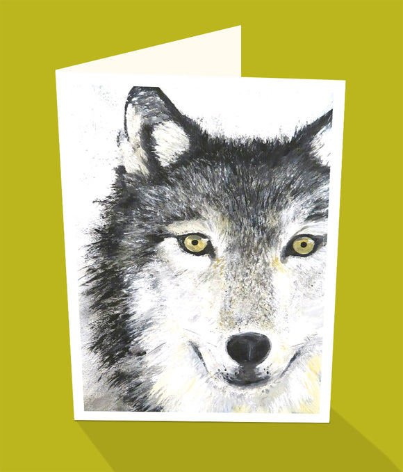 Black wolf greeting card by Emma Harris and Cloud Publishing