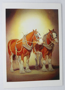 Clydesdale horse greeting card titled Betty & Beau by Peter Hill
