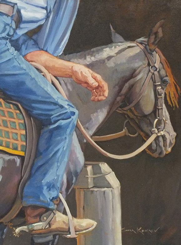 stock man or cowboy resting in the saddle of his horse by Sima Kokaev published by Cloud Publishing