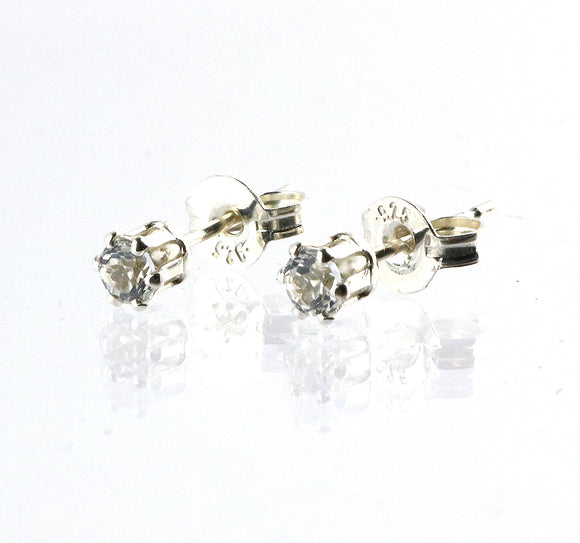 Sterling Silver 3mm White Topaz Stud Earrings from Cloud Publishing