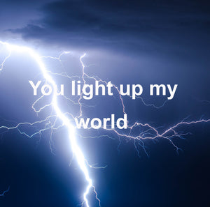 You light up my world eVideo card from Cloud Publishing with lots of lightning bolts