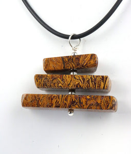 Coquina Jasper 3 tier spinning sterling silver pendant necklace