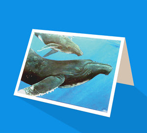 Humpback whales mother and calf greeting card by Emma Harris published by Cloud Publishing