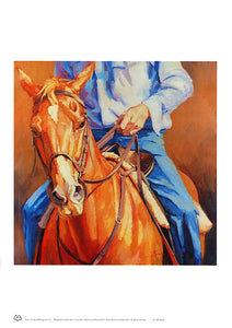 The Chestnut horse and rider A3 unframed wall art by Australian artist Sima Kokaev and published by Cloud Publishing
