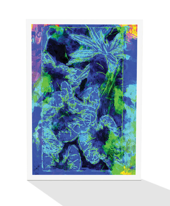 Greeting card of tropical leaves in shades of blue and a splash of colour by artist Tony Brindley and Cloud Publishing