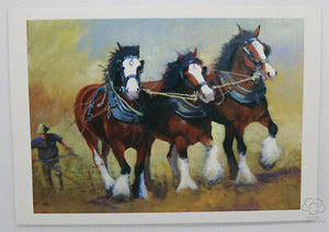 Clydesdale horse ploughing a field greeting card by Australian artist Peter Hill
