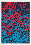 Hidden face abstract amongst the red blue and black Greeting card from Cloud Publishing