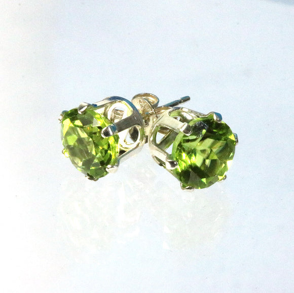 Peridot gemstone 8mm set in sterling silver 6 prong stud earrings with butterfly clasps from Cloud Publishing