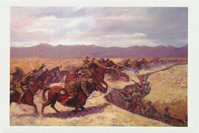 Australian Light Horsemen battle charge by Autstralian artist Peter Hill on a greeting card published by Cloud Publishing
