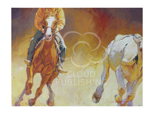 Horse riding card camp drafting by artist Sima Kokaev and published by Cloud Publishing