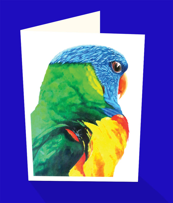 Rainbow lorikeet parrot greeting card by emma Harris and published by Cloud Publishing