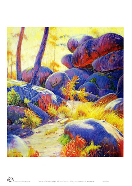 Cathedral Rocks National PArk landscape painting by Australian artist Sima Kokaev and published by Cloud Publishing as an A4 unframed print