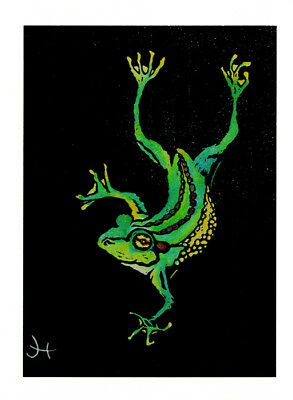 Greeting card of a Green and Yellow Frog by artist Jon Howarth and Cloud Publishing