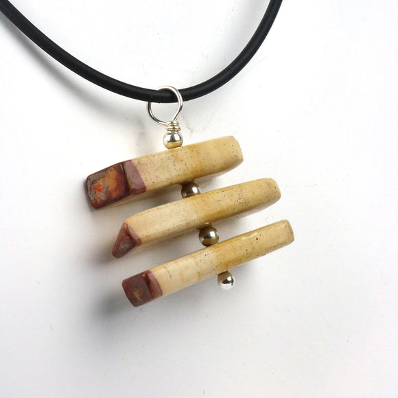 Mookaite Jasper three tier spinning sterling silver pendant necklace