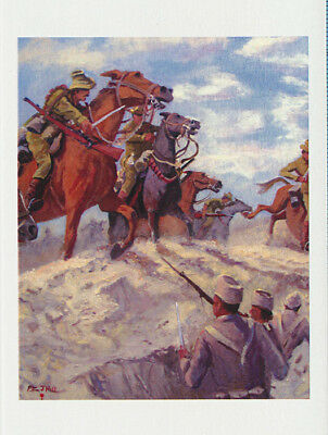 Australian Light Horsemen mounted fighting WWI by Australian artist Peter Hill and published by Cloud Publishing