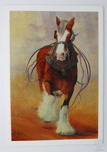 Running Clydesdale horse in harness greeting card by Peter Hill and published by Cloud Publishing
