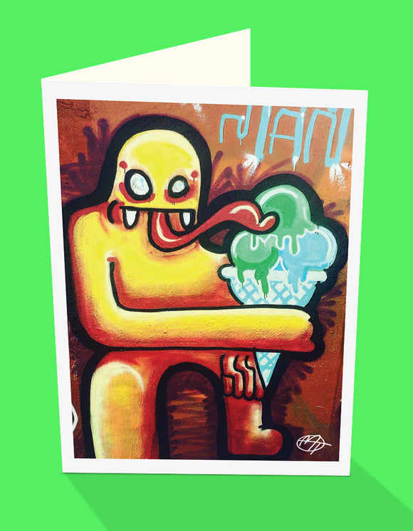 Ice Cream Monster street art greeting card by Matt Tanner