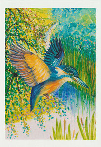 Greeting card blue and yellow azure kingfisher from an original watercolour by Nancy Soultanian and published by Cloud Publishing
