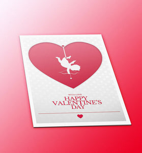 Happy Valentine's day greeting card  with a a white cupid holding a bow and arrow inside a red heart published by Cloud Publishing