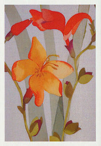 orange Gladioli look out Dame Edna. By Australian  artist Nancy Soultanian and published as a card by Cloud Publishing