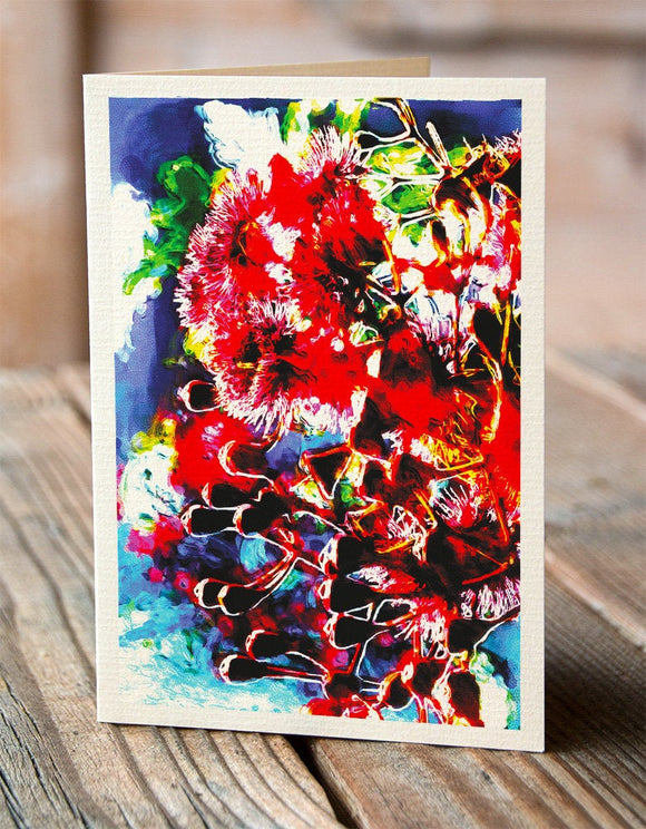 Australian red flowering gum greeting card from an original illustration from Cloud Publishing